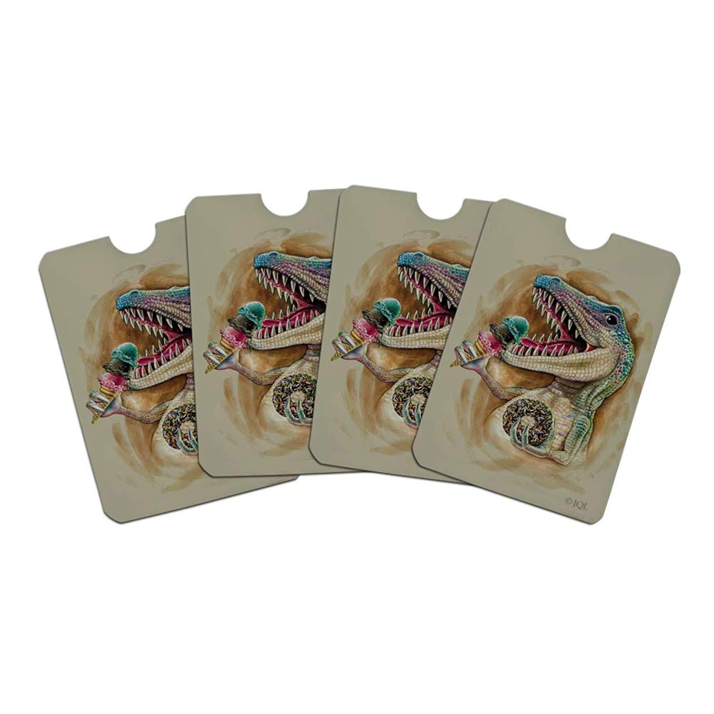 T-Rex Dinosaur Donut Ice Cream Funny Jurassic Junkie Credit Card RFID Blocker Holder Protector Wallet Purse Sleeves Set of 4