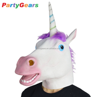 Christmas Adult Magical Lovely Animal Latex Unicorn Head Mask For Party