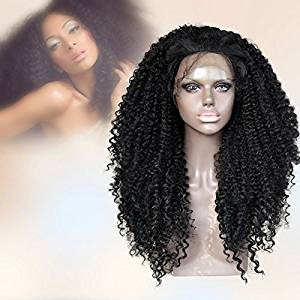 CBWIGS Black Women Afro Kinky Curly Wigs with Baby Hair for African American Long Afro Black Kinky Curly Lace Front Synthetic Wig Heat Freindly Fiber Hair 20 inch #1B