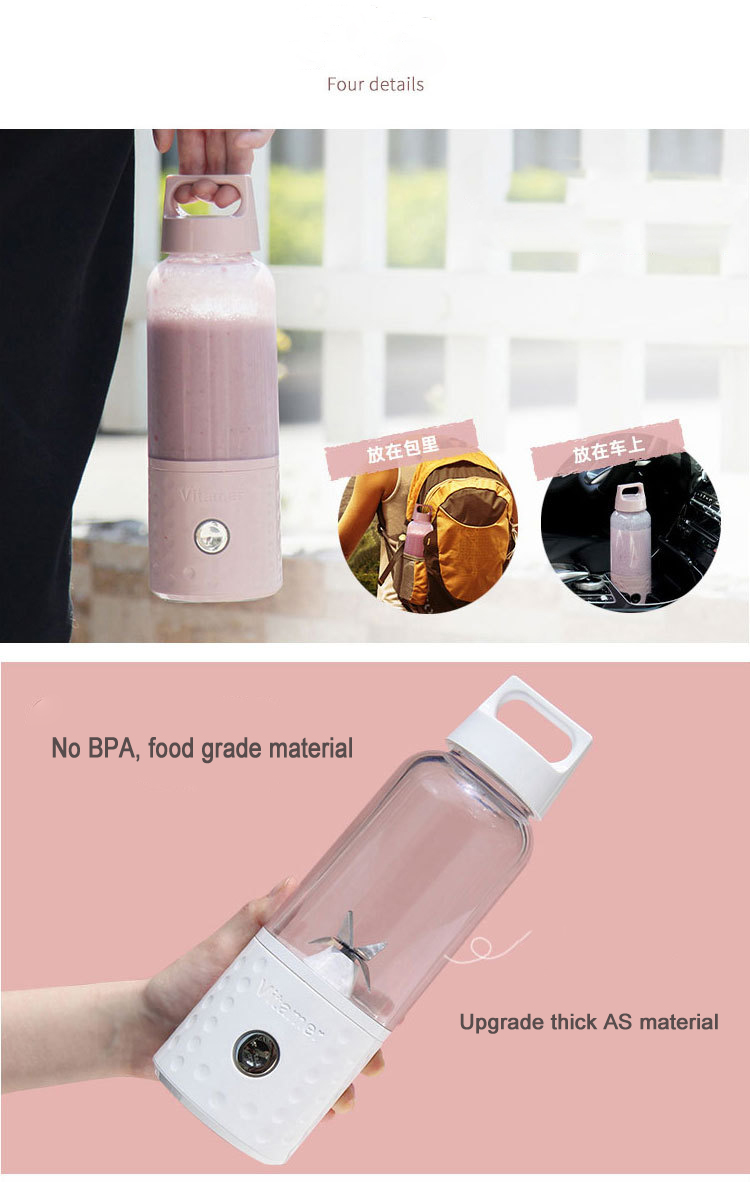 Easy to clean Portable Blender, Mini Smoothie Maker with USB Rechargeable battery for food and fruit mixing,RK-W18