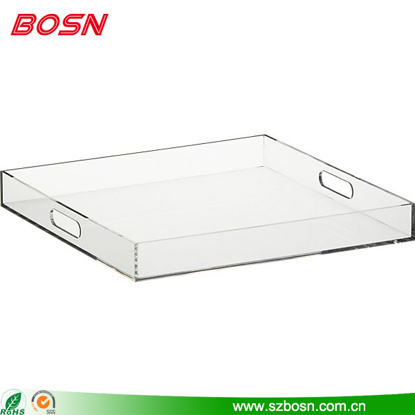 Clear Square Acrylic Large Tray with Handles