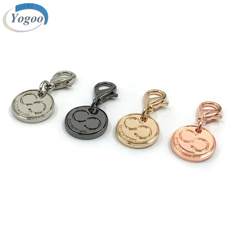 Custom Engraved Rose Gold Alloy Jewelry Metal Logo Charms Tags with Lobster Clasp