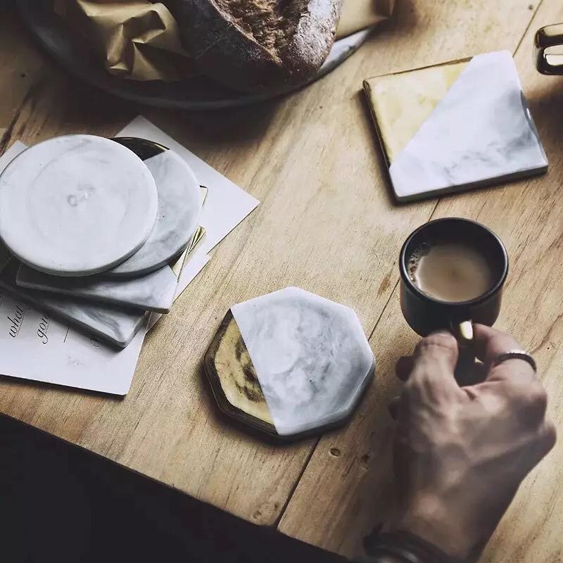 Hotel fancy hexagon shape personalized bulk blank coffee tea cup ceramic marble  coaster