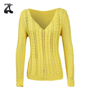 Acrylic V Neck Long Sleeve Loose Cable Knit Sweater for Womens