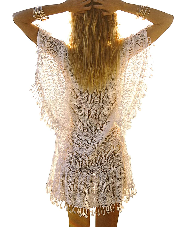 Women Kaftan Crochet Lace Swimwear Tassels Beach Dress Bikini Cover Up Dresses