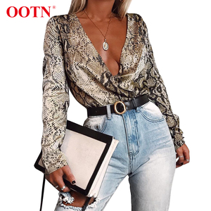 OOTN Long Sleeve Snake Print Top Shirt Ladies Deep V Neck Snakeskin Sexy Satin Bodysuits Vintage Silk Rompers Womens Jumpsuit