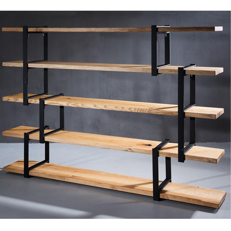 Neueste Wohnzimmer Dekoration Einsatz Holz Regal Metallrahmen