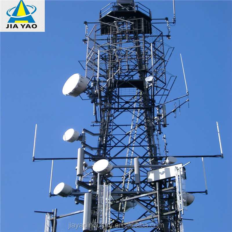 manufacturer 4-leg steel pylon 5km wifi transmitter and receiver Angular Lattice Microwave wireless support radio tower