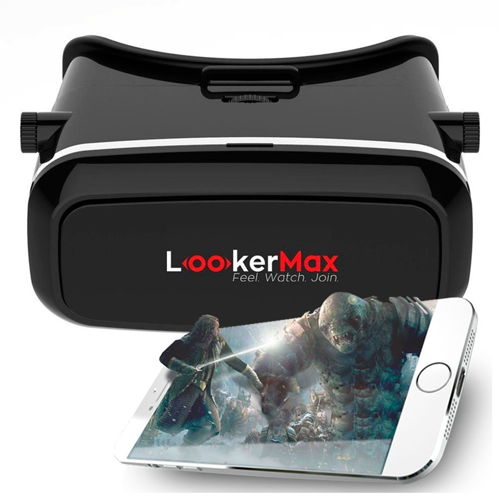 Virtual Reality Headset by LookerMax Fully adjustable 3D Virtual Reality Glasses for 360° Video, Movies, Pictures–VR Headset & VR Glasses for GAMING-100% RISK FREE SATISFACTION GUARANTEE