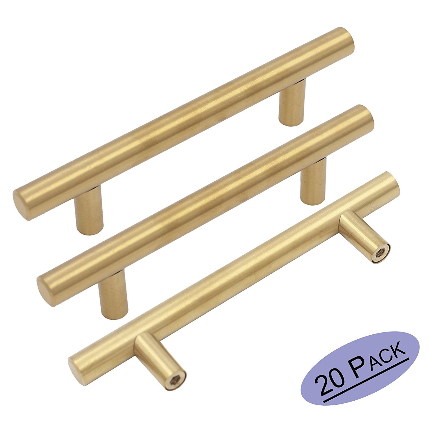 20Pack Gold Cabinet Pulls 3.5 Inch Brass Drawer Pulls- Goldenwarm LS201GD90 Brushed Brass Dresser Bathroom Cabinet Handles Kitchen Hardware Stainless Steel