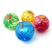 65mm Kids Fun Toys LED Light up Jumping Ball Color Changing Bouncing Ball Super Glitter Water Ball