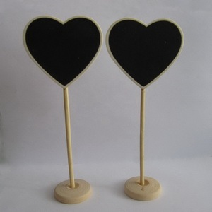 Heart Wooden Mini Chalkboard With Stand Wedding Writing Notice Message Paint Wood Blackboard