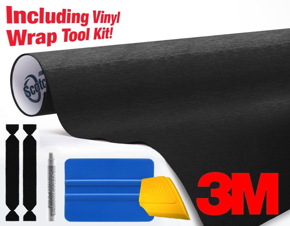 3M 1080 Brushed Black Metallic Air-Release Vinyl Wrap Roll Including Toolkit (3ft x 5ft)