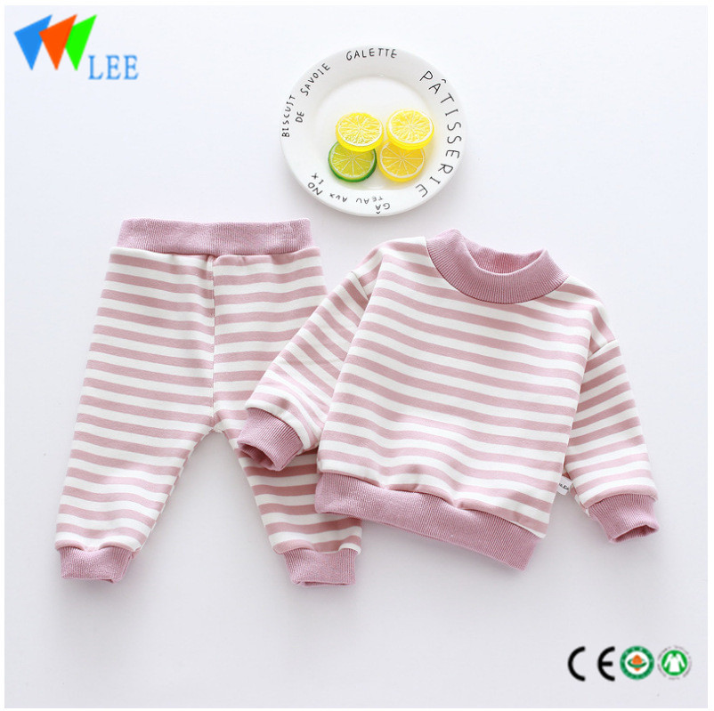 baby's kids clothing sleep wear 100cotton pajamas striped long sleeve girls boutique sets