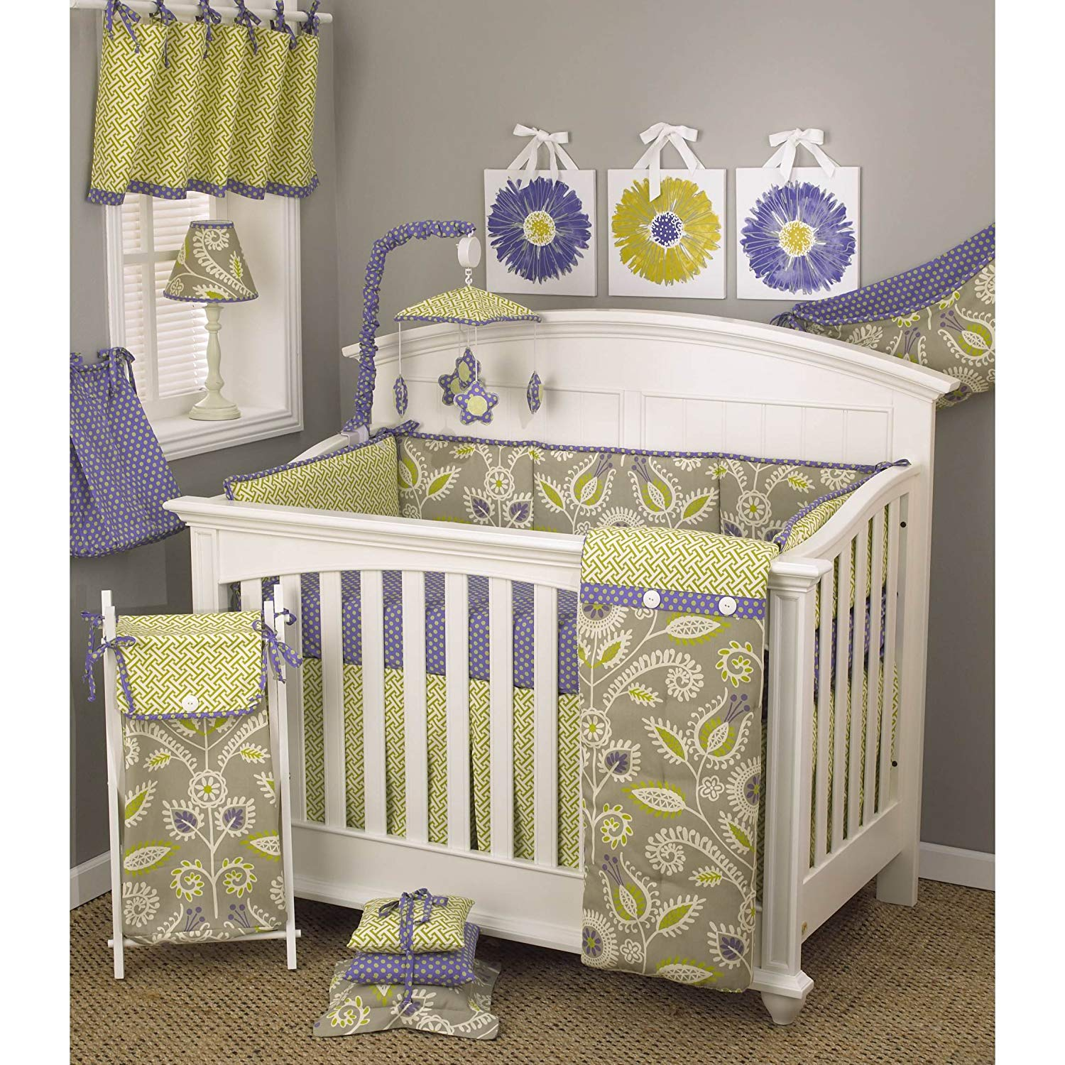 Buy 8 Piece Baby Girls Grey Purple Yellow Flower Crib Bedding Set Newborn Floral Themed Nursery Bed Set Infant Child Periwinkle Lattice Pattern Polka Dots Lime Green Adorable Blanket Comforter Cotton In