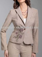 Fashion High Neck Designs 1 Button For Ladies Suit