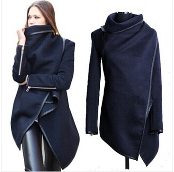 wholesale 2015 Black newly listed Autumn Spring Coat Womens Overcoat Temperament Slim Trench Desigual women Wool