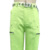 Green color wide leg pants sports big pocket trousers with belt
