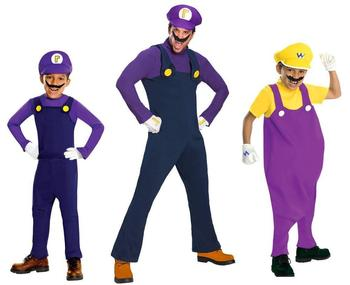 Super Mario Waluigi Wario Costumes Adult and Child Carnival Costumes QAMC-3410