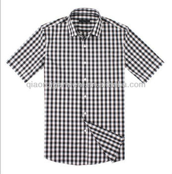 5858e8336fc9b mens short sleeve funky design plaid/check casual shirts with square collar