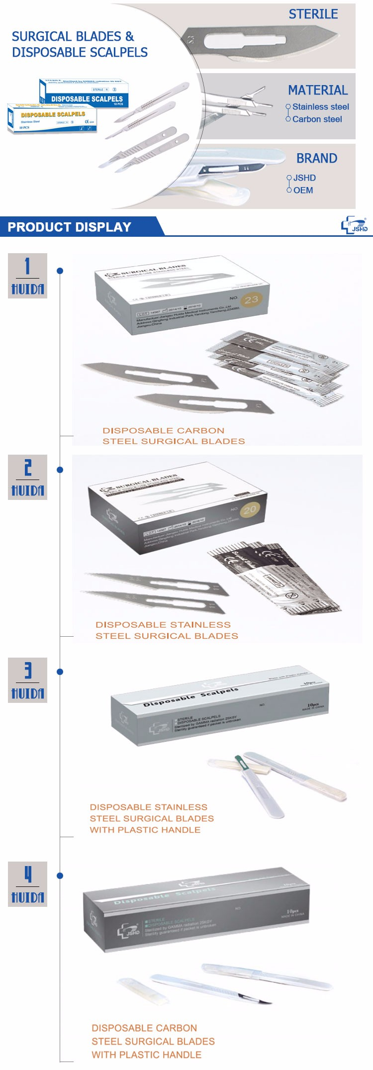sterile surgical scalpel blade with scalpel handle