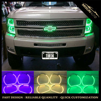 RGB angel eyes 6500k halo ring projector HID xenon kits car fog lamp for chevy silverado
