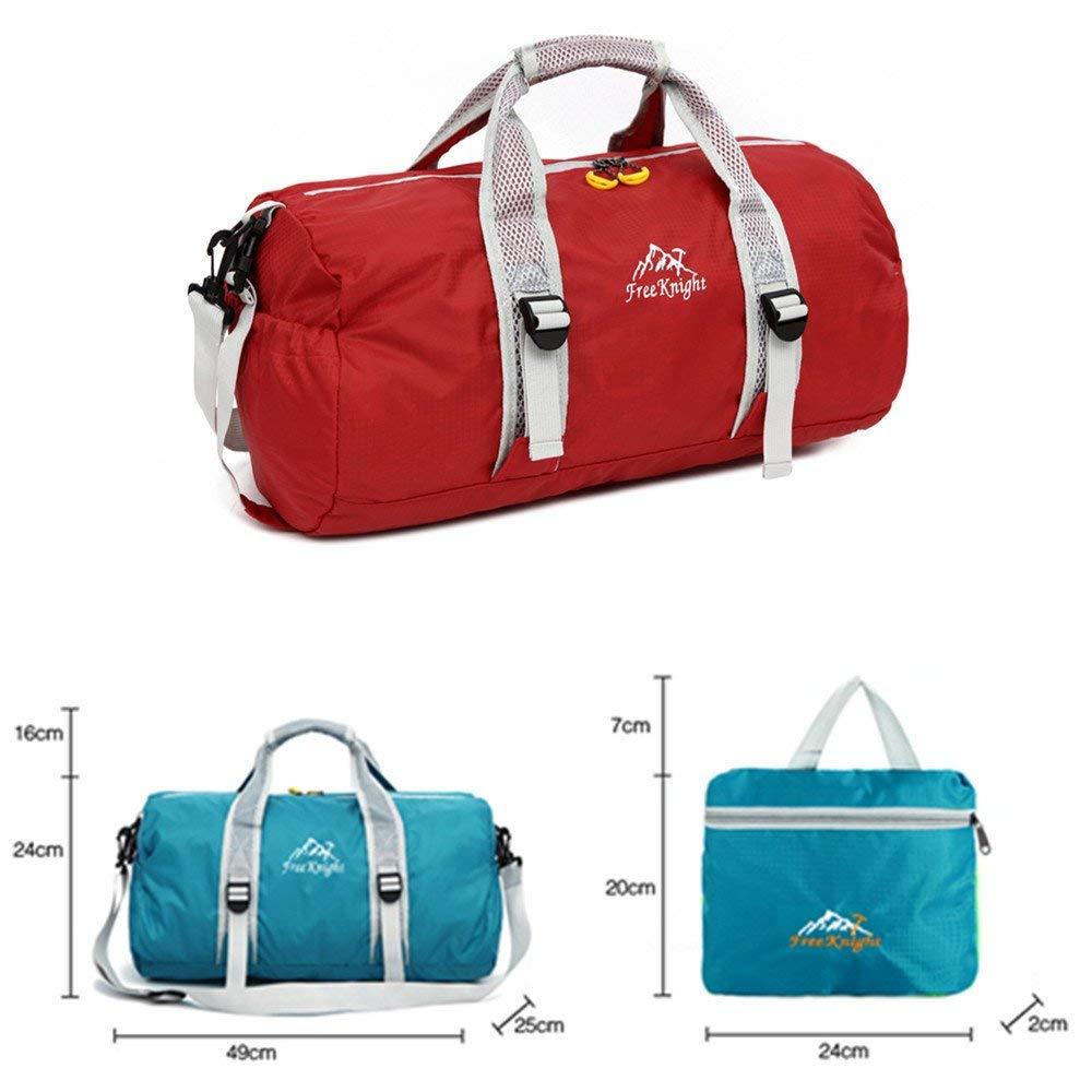 Travel Bag Ultralight Folding Fitness Bag,Fashionable Waterproof Nylon Gym Yoga Sport Training Bag Luggage Portable Hiking Travel Shoulder Handbag Camping Outdoor Bag-Red