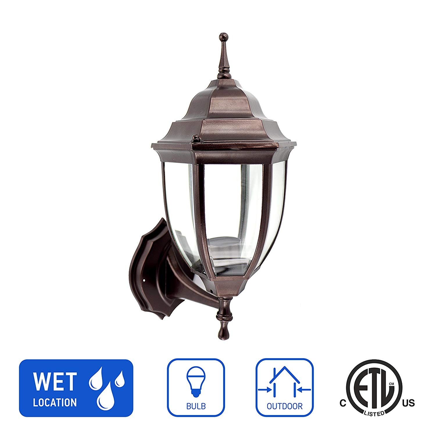 IN HOME 1-Light Outdoor Exterior Wall Up Lantern, Traditional Porch Patio Lighting Fixture L04 with One E26 Base, Water-Proof, Bronze Cast Aluminum Housing, Clear Glass Panels, ETL Listed