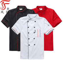 Fabrikant wit kleur <span class=keywords><strong>chef</strong></span> jassen uniform voor restaurant met double breasted knoppen keuken <span class=keywords><strong>chef</strong></span> jas korte mouwen uniform