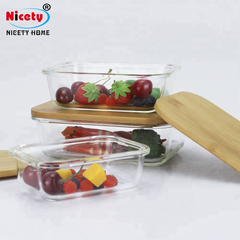 Finesse glas lunchbox opslag container set groothandel thee glas voedsel container met bamboe deksel lunchbox glas