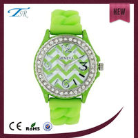 candy color silicone band alloy case with full diamond geneva watch for women