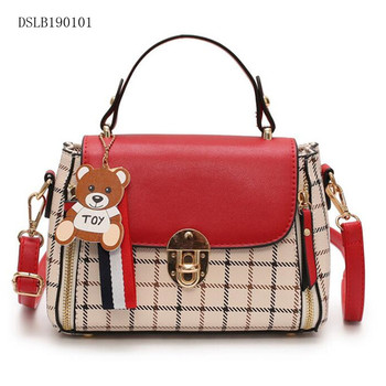 Wholesale new model Fashion double color ladies PU leather Handbags cellphone cross body purse bag with grid printing