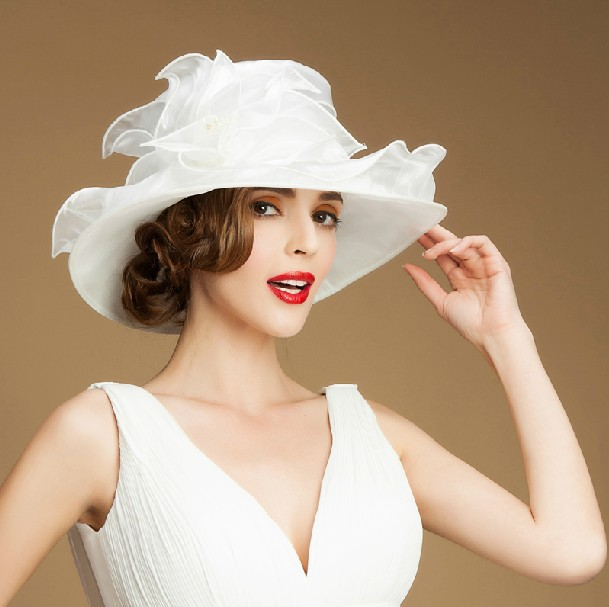 Women Evening Dress Hat Floral Ladies Wide Brim Hat sinamay white church  hats f707a54c0f3