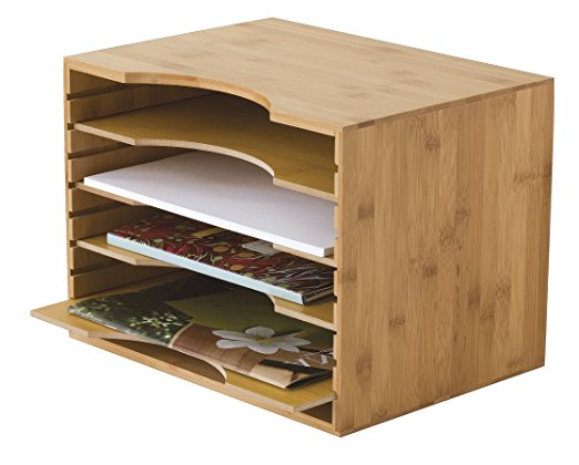 bamboo function desk organizer file tray