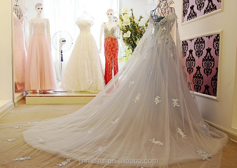 High Quality Lace Flowers Wedding Dresses French Tulle Ball Gown Corset Lace Up Back Long Bride Dress