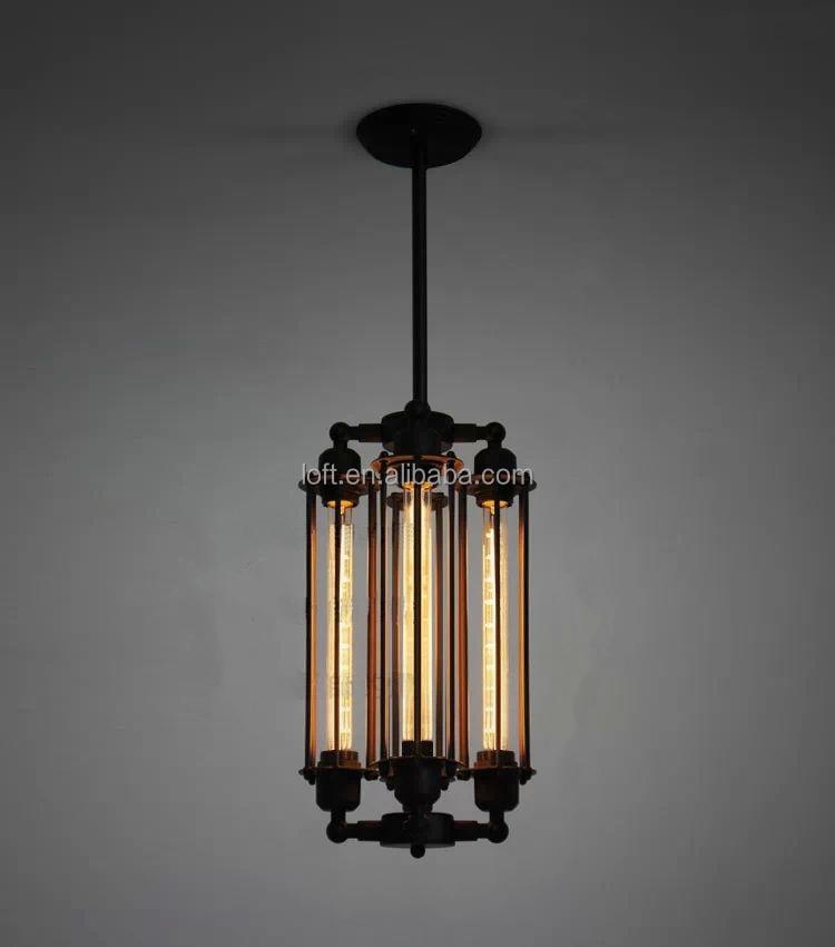4 Head Iindustrial Black Long Cylindrical Pendant Lighting Wrought ...