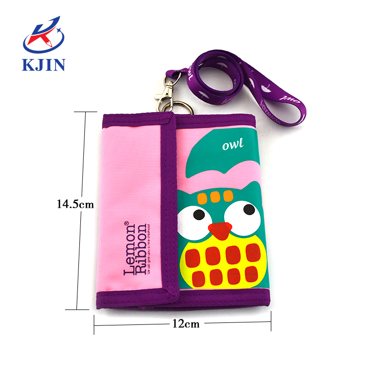 High Quality 840D with PVC Card Bag 3 Folding Wallet with Lanyard for School Students