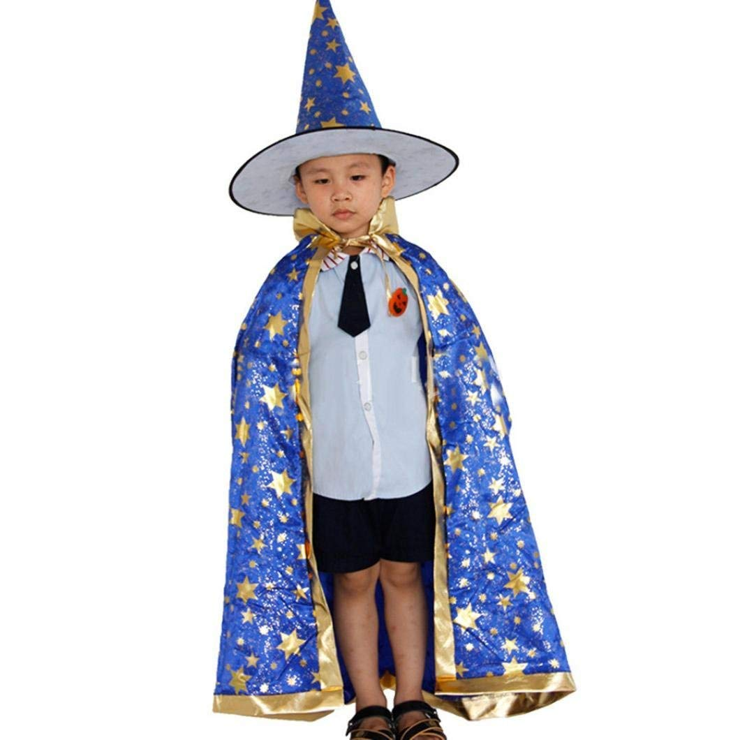 c32bdc6937e Get Quotations · IEason Childrens  Halloween Costume Wizard Witch Cloak  Cape Robe and Hat for Boy Girl (