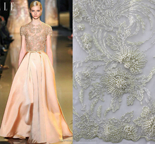 2016 Newest design white bead pearl french net lace fabric wedding bridal dress