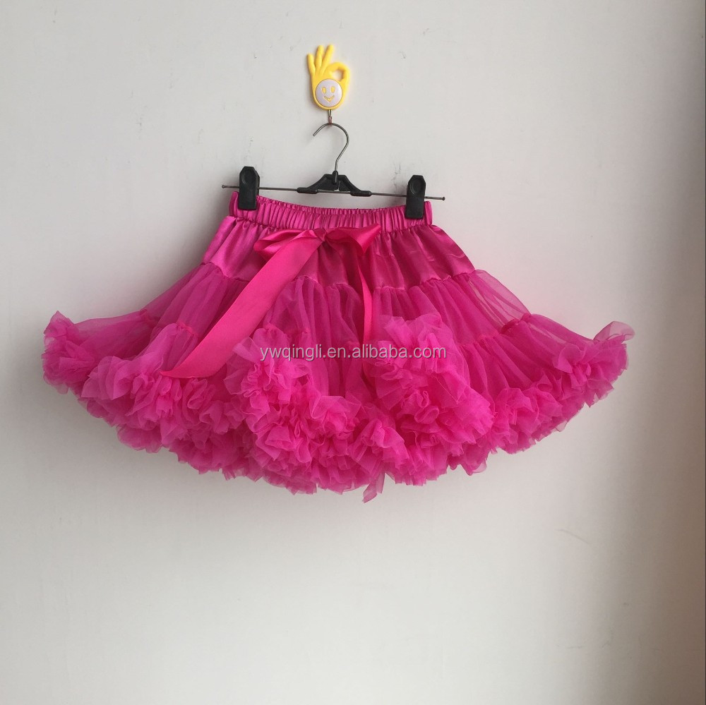 High Quality Toddler Girls Hot Pink Chiffon TuTu Pettiskirt Baby 2 Layers Chiffon Skirt