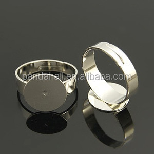 12mm Tray Blank Adjustable Platinum Plated Copper Pad Ring Bases