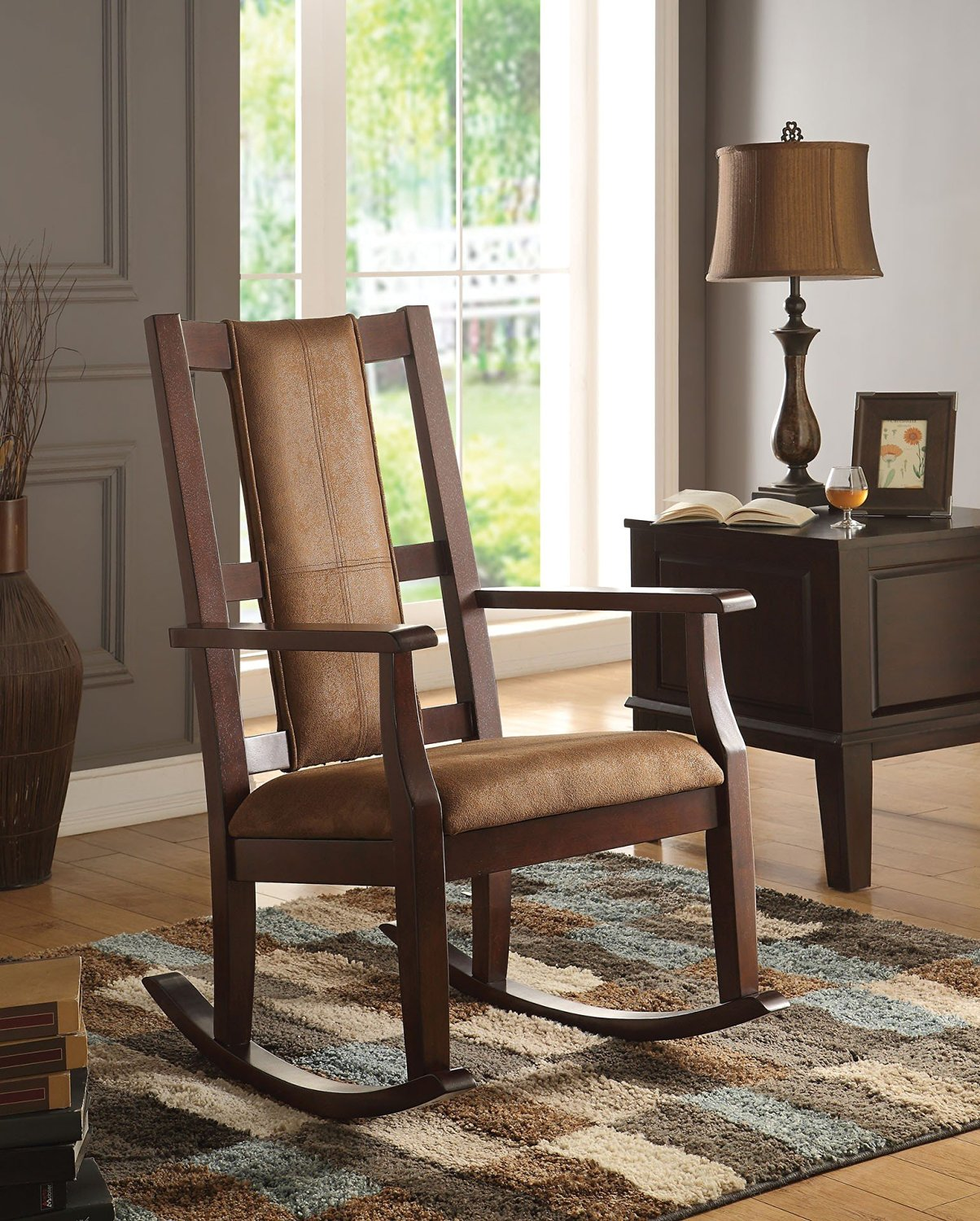 Get Quotations · 1PerfectChoice Butsea Brown Fabric Espresso Rocking Chair