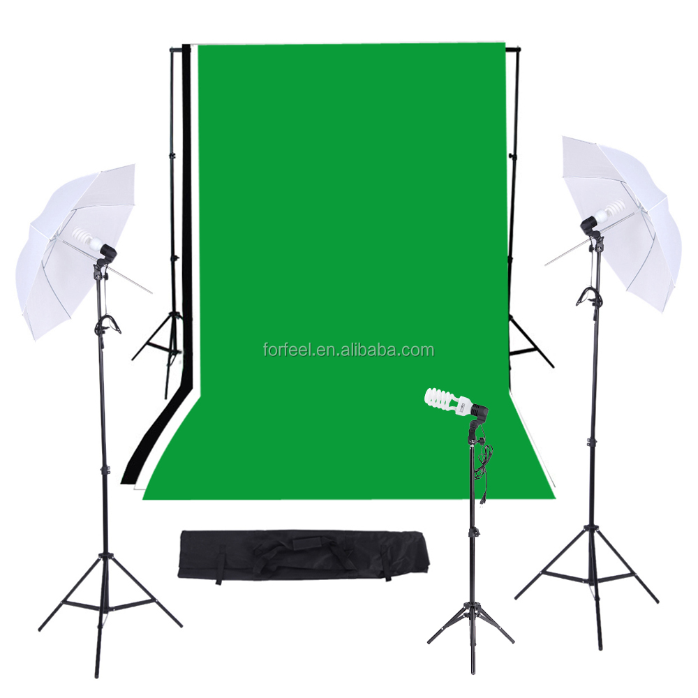 Photographic equipmet/Photo Studio Lighting Kit with Black/White/Green Muslins Backdrops Background Soft Umbrella Support System