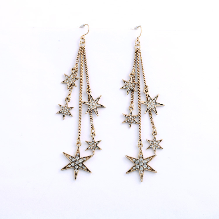 Small mied batch of Qingdao western fashion big ear jewelry wholesale retro fringed Star Pendant Earrings for women