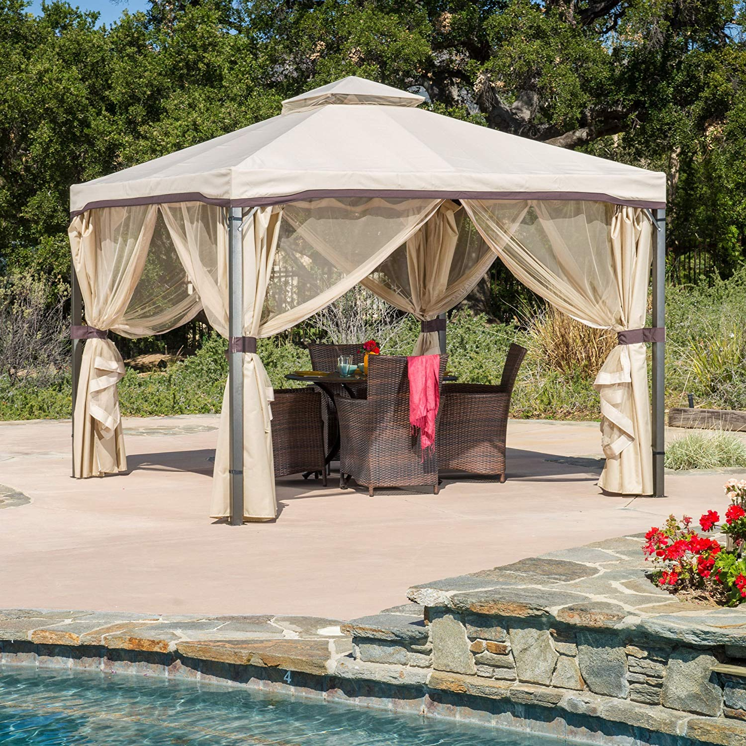 Skyline Fabric Gazebo, UV-Resistant Polyester Roof, Adjustable Side Mosquito Netting, Made of Polyester and Steel, Solid and Durable, Adjustable Netting to Enclose the Structure, Multiple Colors