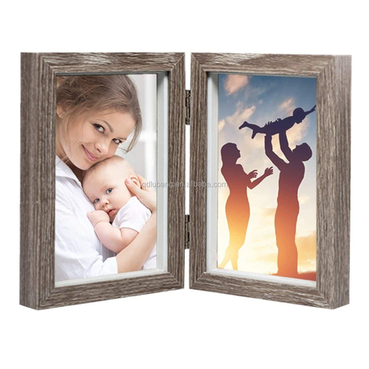 Wood Photo Frame Shadow Boxhinged Double Picture Frames 4x6 Buy