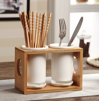 Modern Stylish 2 Cupu0026 Lid Porcelain Kitchen Utensils/Cutlery Drying Storage  Holder With Wooden