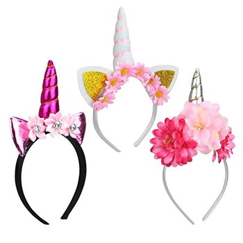 Unicorn Horn Headbands With Glitter Ears And Flowers For Girls - Buy ... eb4bb256f18
