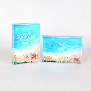 Customized Design Summer Sea Funny Liquid Glitter Acrylic Picture Photo Frame For Wedding