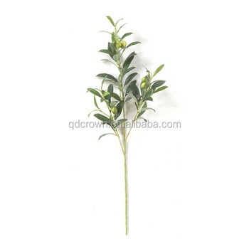 Free Sample Wholes Plastic Silk Fabric Real Touched 26 Inch Artificial Olive Branch With Green Olives